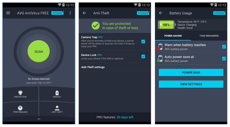 avg screenshots android antivirus
