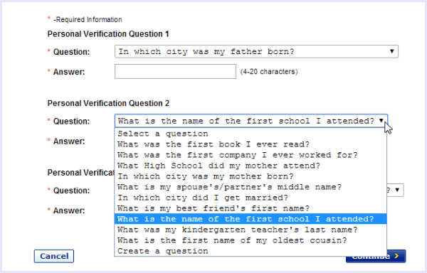 choose gmail security questions