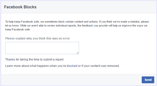 Facebook Request form