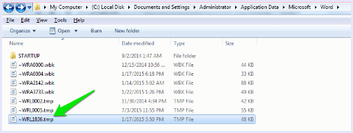 recover ms word doccument temporary files