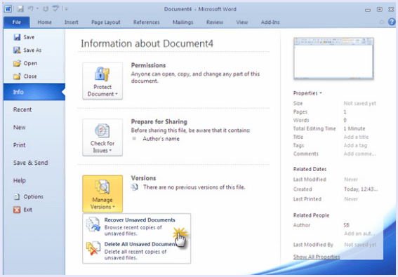 how to bring back unsaved word documents 2010