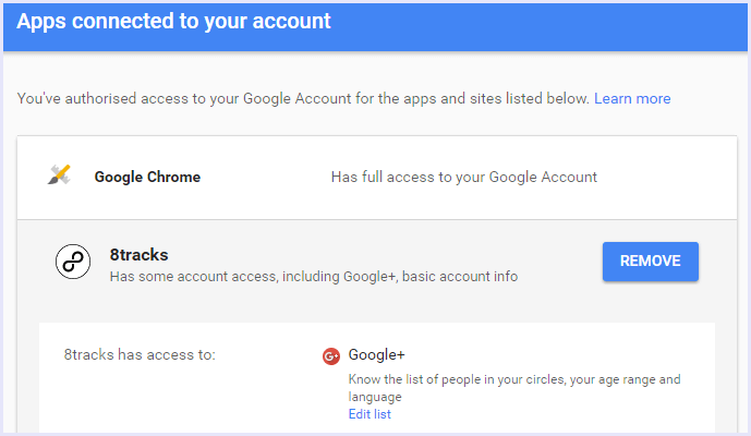 remove apps gmail security