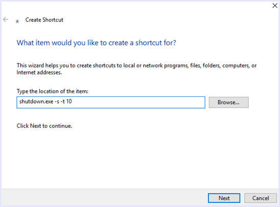 shutdown timer shortcut command