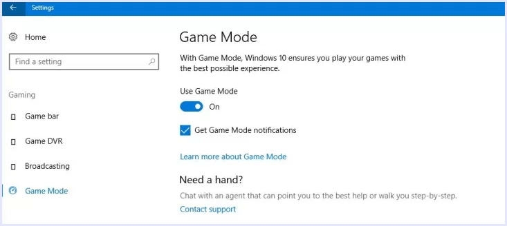 game mode windows 10