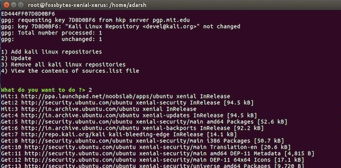 install and update kali linux repositories
