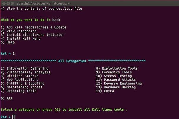 install kali linux tools categories