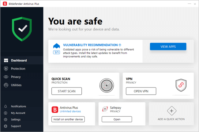 Bitdefender Antivirus User Interface