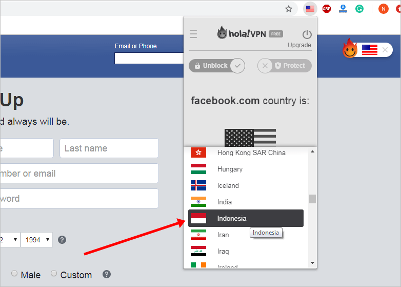 Hola VPN Extension Country Selection