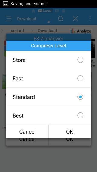 compression level es file manager