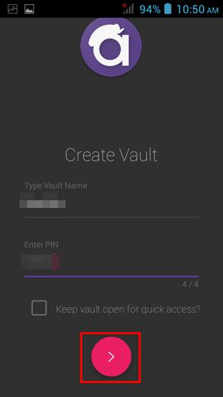 enter vault details