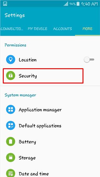 security settings encrypt phone