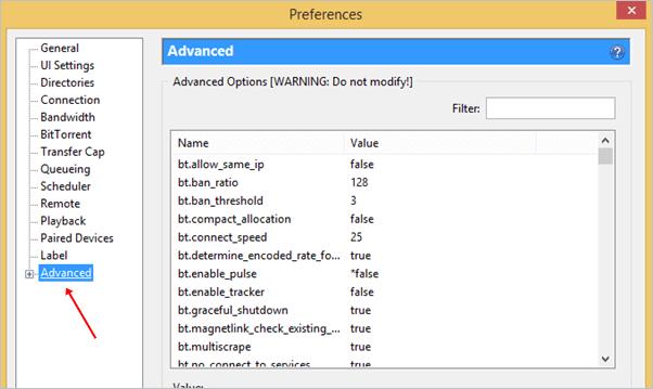 utorrent advance settings