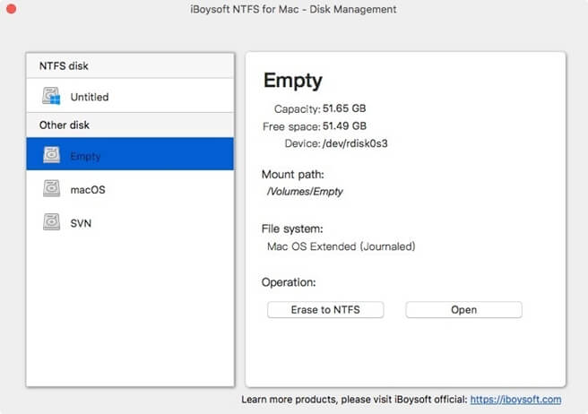 iBoysoft NTFS for Mac Disk Management