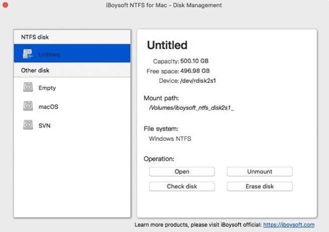 iBoysoft NTFS for Mac Options